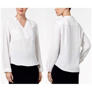 NINE WEST Notched Collar Long Sleeve White Blouse
